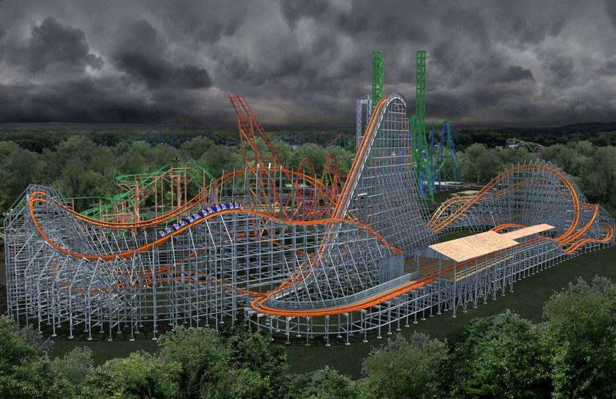 CGI design render of Wicked Cyclone coaster at Six Flags New England