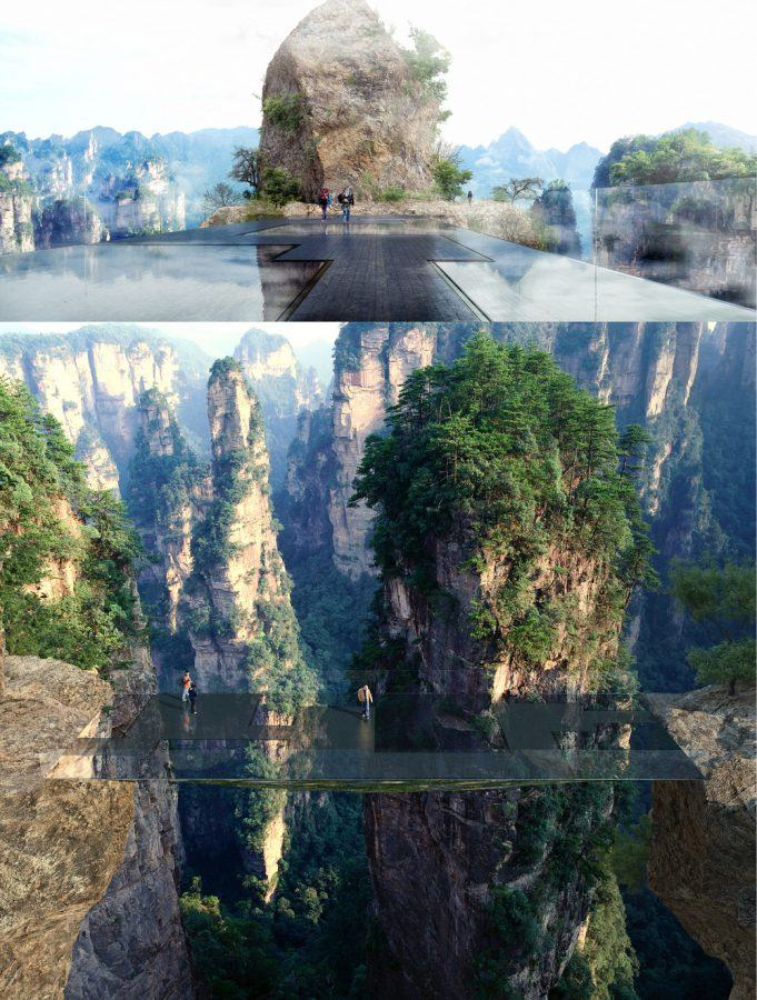 Architectural design for a bridge in Zhiangjiajie National Forest Park