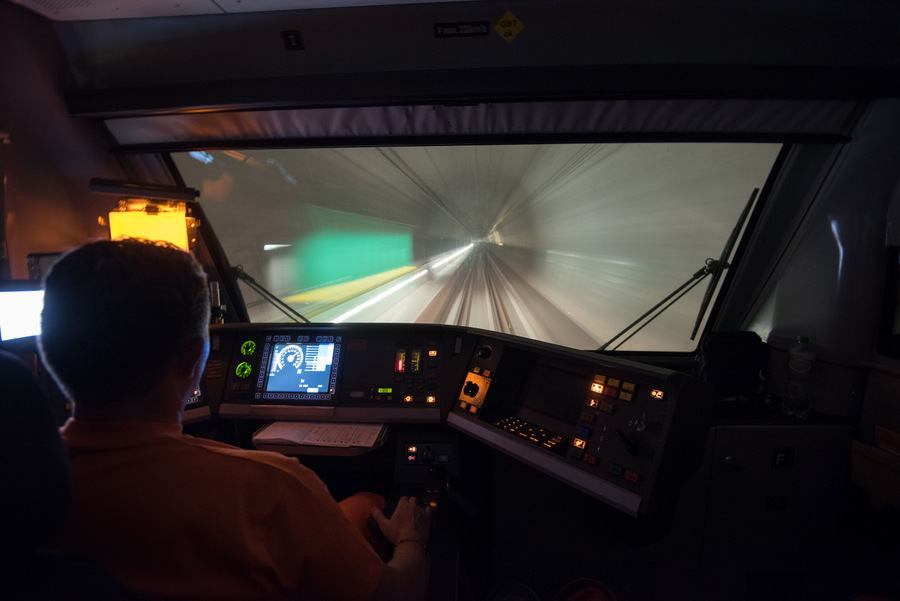 Driver's view inside the Gotthard Base Tunnel