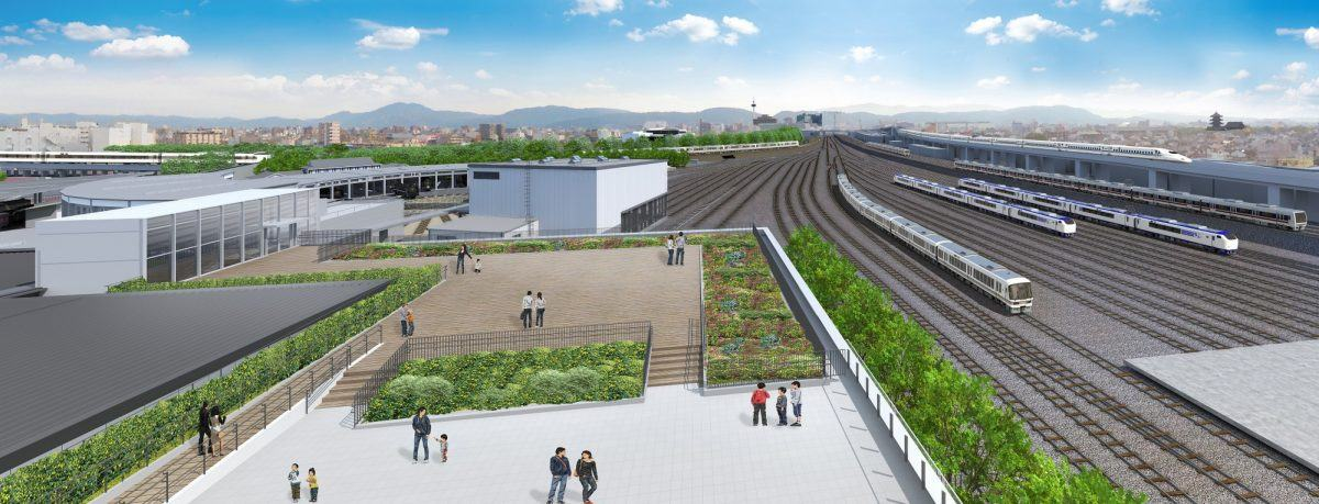 CGI impression of the terrace at Kyoto Railway Museum