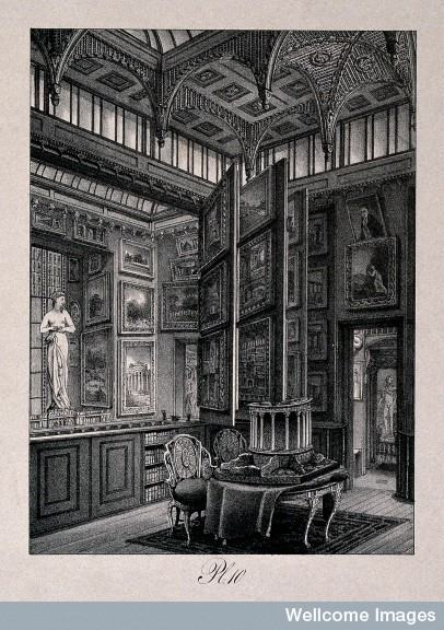 Lithograph (1830) of the picture gallery in Sir John Soane's Museum, London