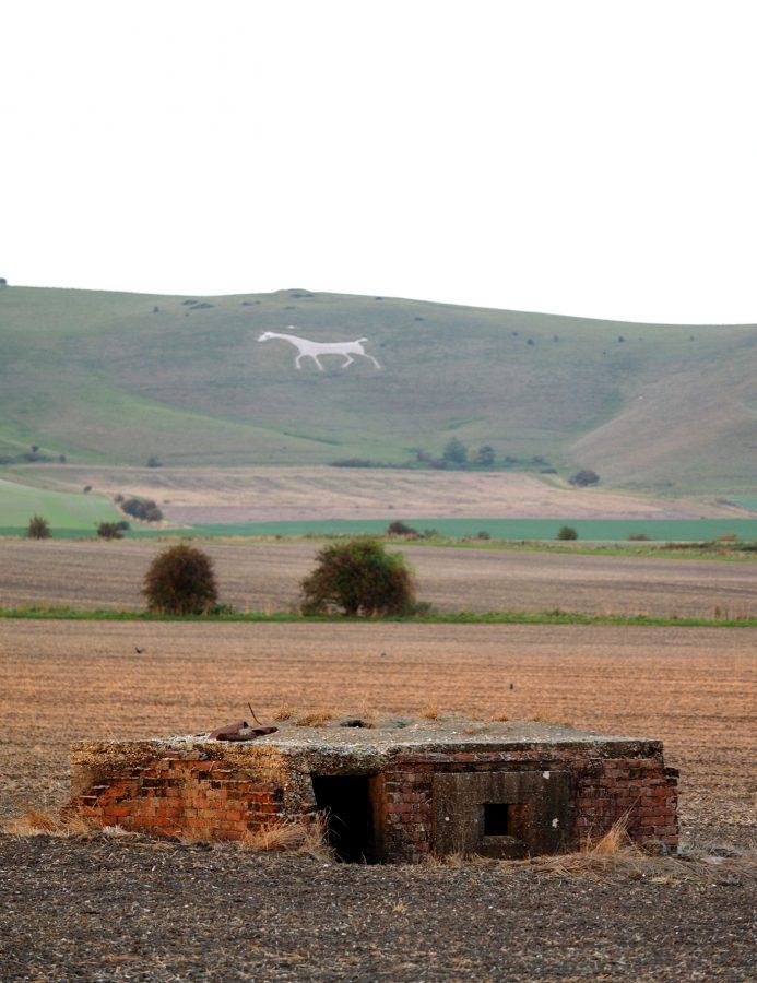 Pillbox in foreground, White Horse Hill behind