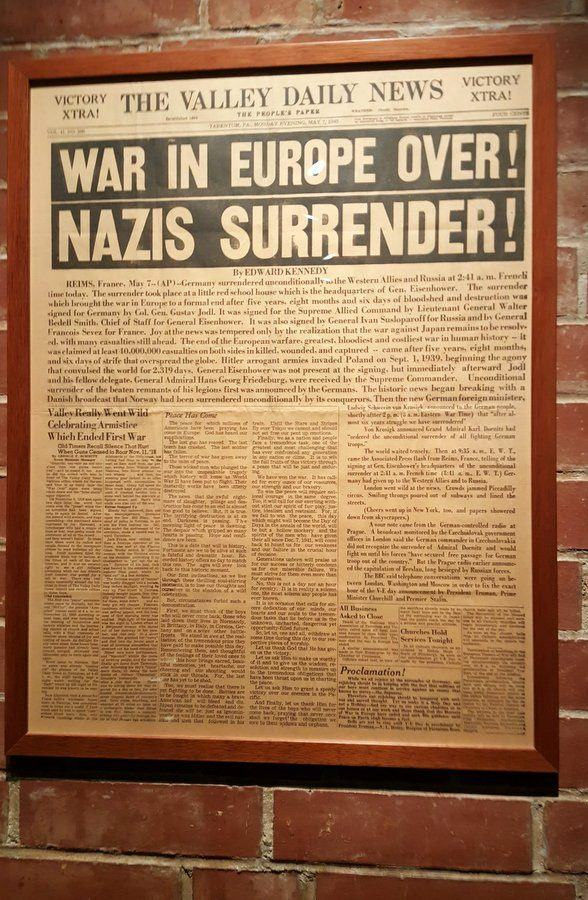 Old newspaper with german surrender news