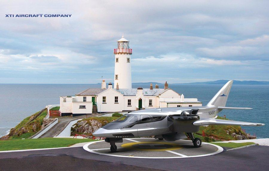 XTI concept plane on the ground by a lighthouse