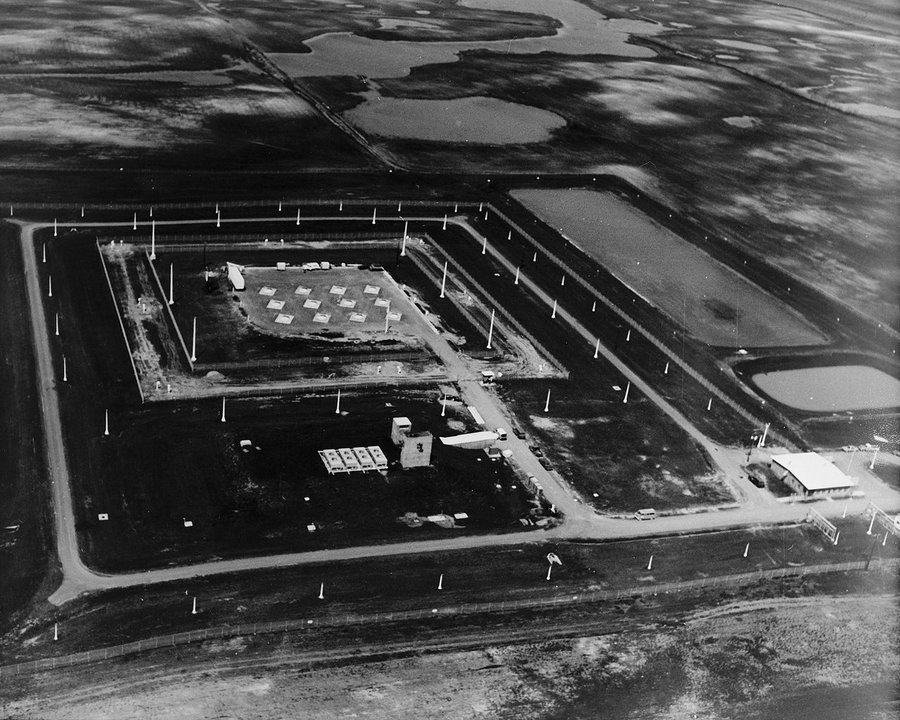 Black & White aerial photo of a missile site