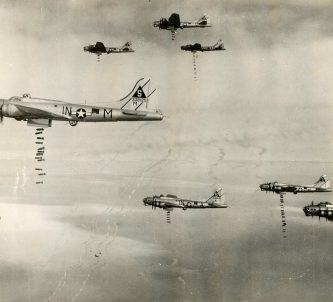 B-17 bombers dropping bombs