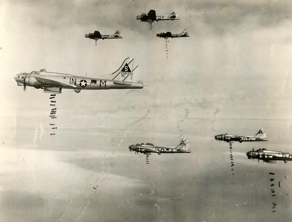 B-17 bombers dropping bombs