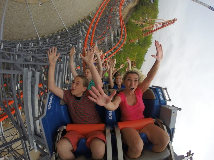 Passengers on Wicked Cyclone coaster at Six Flags New England