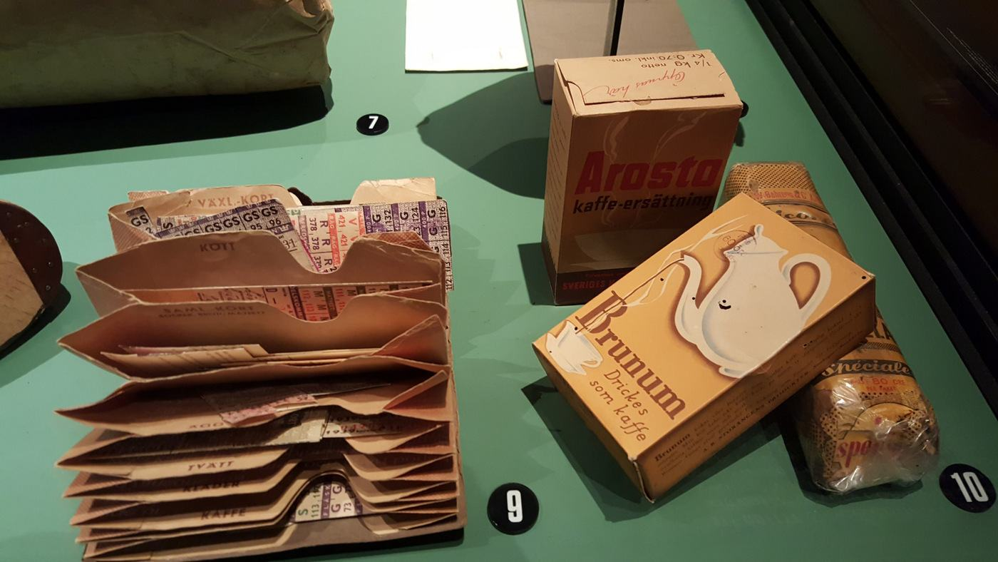 Ration cards and artificial coffee during WW2, exhibits at the Army Museum, Stockholm