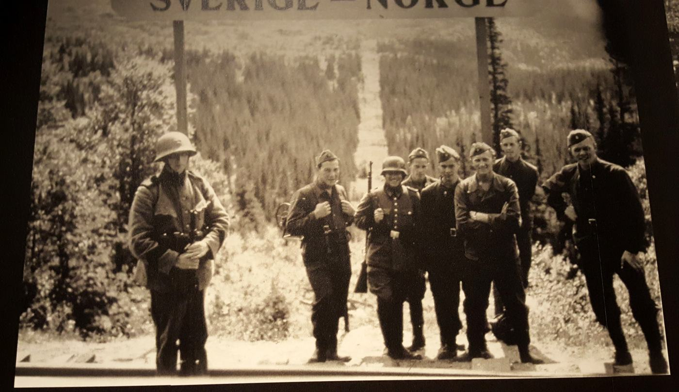 Photo of a photo on display at the Army Museum, Stockholm of WW2 soldiers on the Swedish-Norwegian border