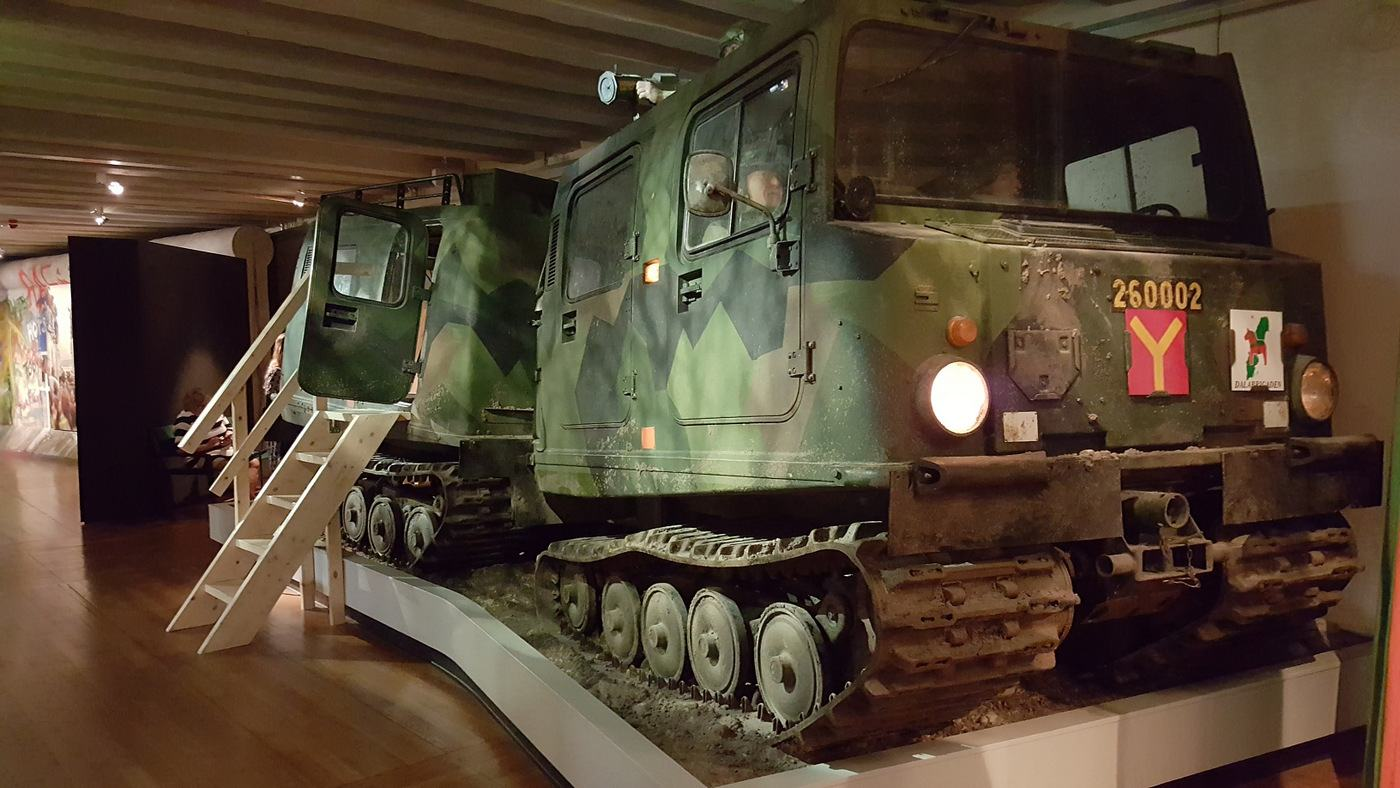 Bandvagn 206 tracked all-terrain vehicle at the Army Museum, Stockholm