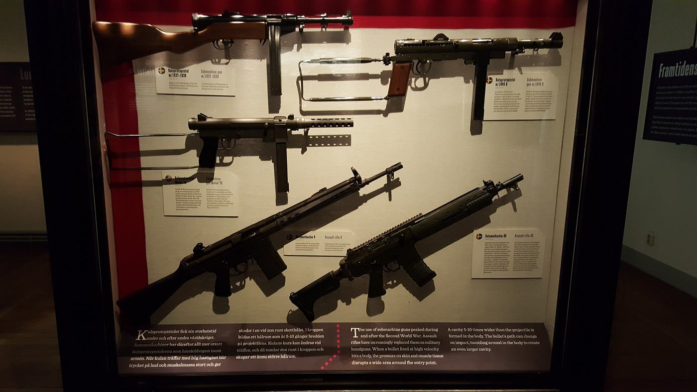 sub-machine guns displayed at the Army Museum, Stockholm