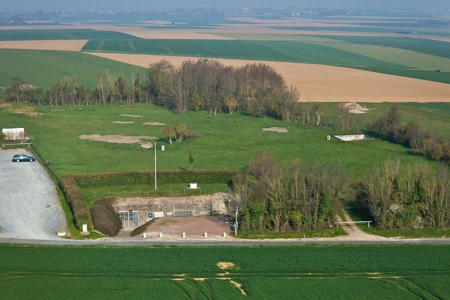 Aerial view of the bunkers among fields