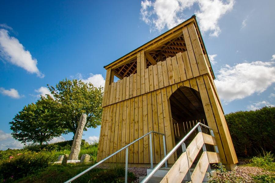 A wooden two storey viewing hut