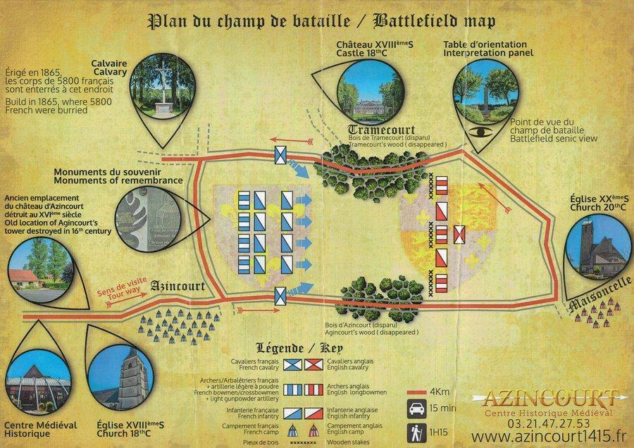 A stylised map of the Agincourt battlefield