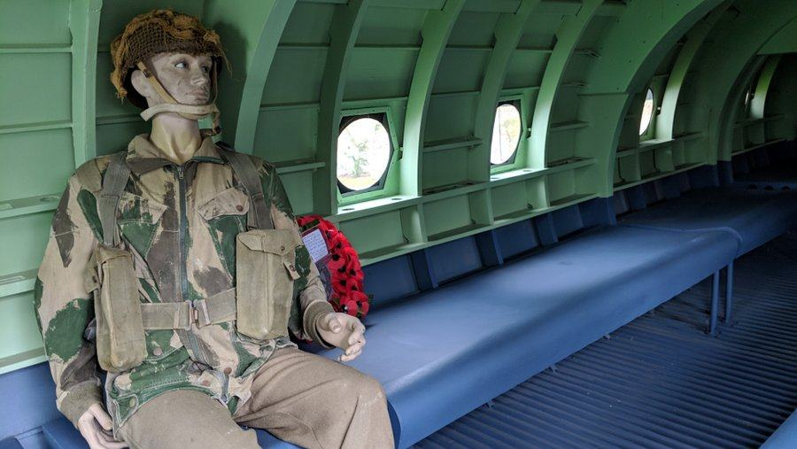 Dummy soldier sits inside the replica Horsa glider