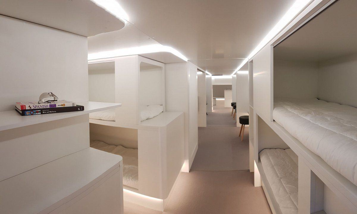 Mock up of the Airbus-Zodiac sleeping compartment