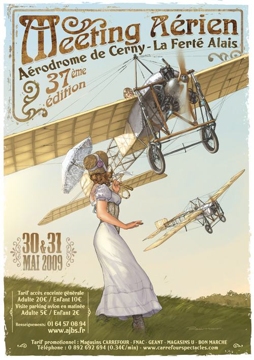 Pre-WW! retro style poster of early Bleriot monoplanes flying over a startled young woman. Details of the 2009 airshow overlaid.