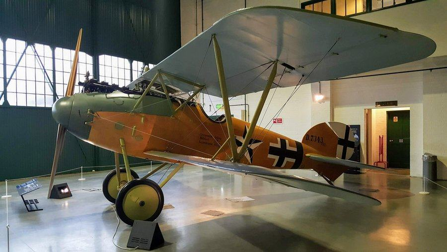 German biplane with yellow fuselage