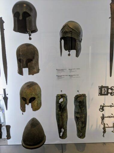 Ancient Greek helmets & leggings