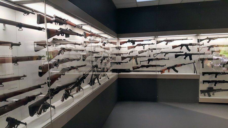 Rifles, machine guns, pistol on display at REME Museum