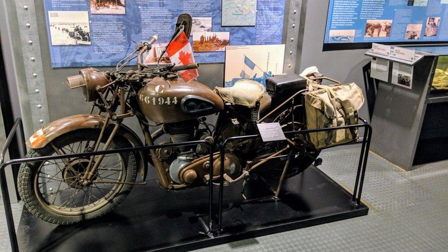 Brown military motorcycle