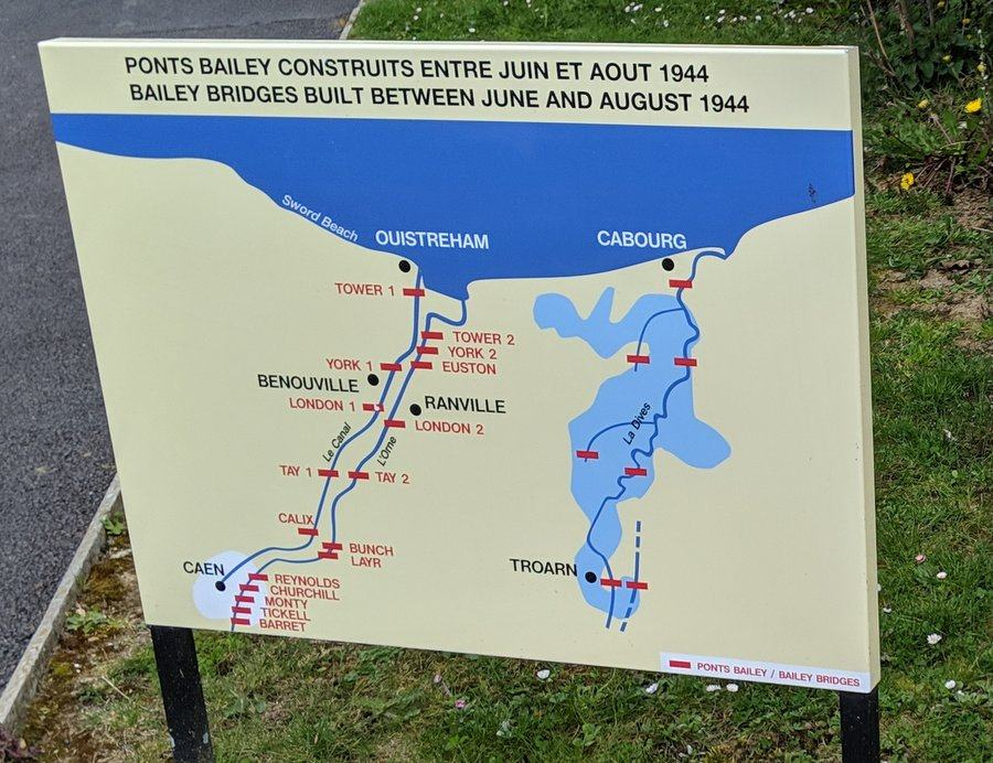 Signage with a map of the Orne & Dives rivers