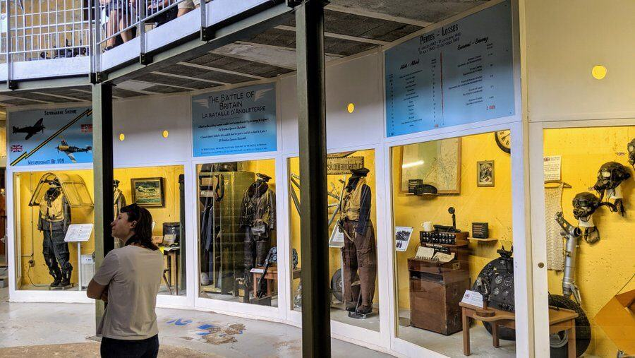 Display cabinets with uniforms and equipment