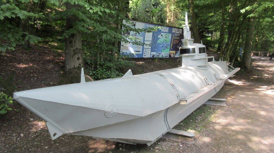 Small grey submarine about 25ft long