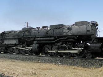 A huge Big Boy locomotive on tracks