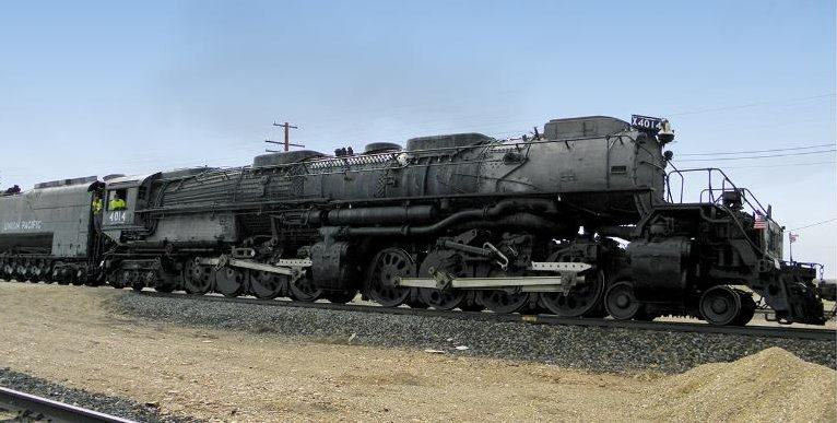 A huge Big Boy locomotive on tracks