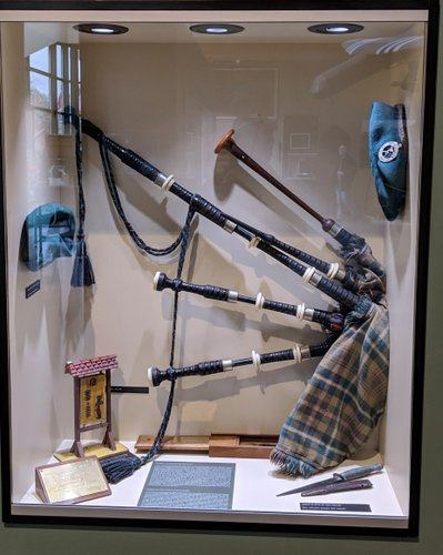 Bagpipes in a display case