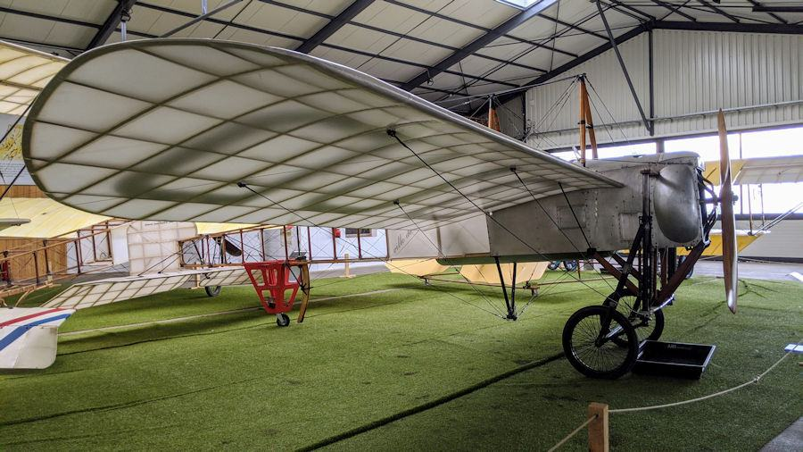 Bleriot monoplane with transparent wings, displayed at the Salis Flying Museum
