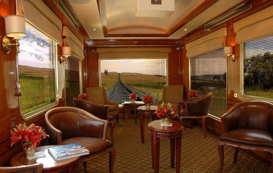 Luxurious carriage interior with panoramic windows