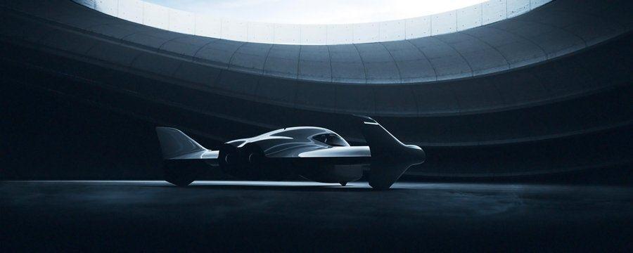 Future urban air vehicle inside a hanger