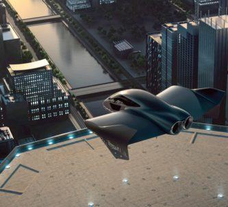 Concept drawing of a futuristic flying vehicle lifting off from the roof of a skyscraper