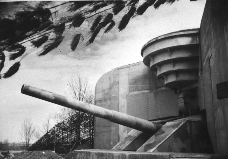 Black & White image of a huge emplacement with gun & turret