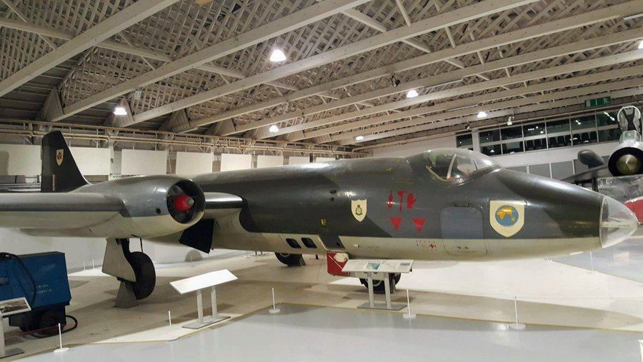 Sleek twin engined jet from the 60s in grey & green camouflage