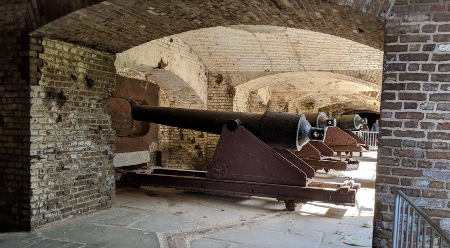 View of several large cannon under the walls of fort Sumter