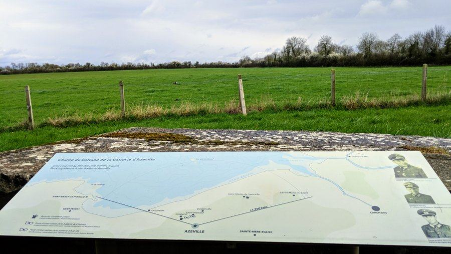 A map board. Behind it the fields in front of the gun sited here