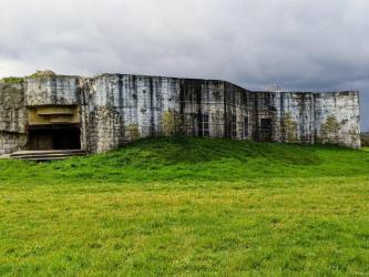 A concrete gun emplacement in a green field