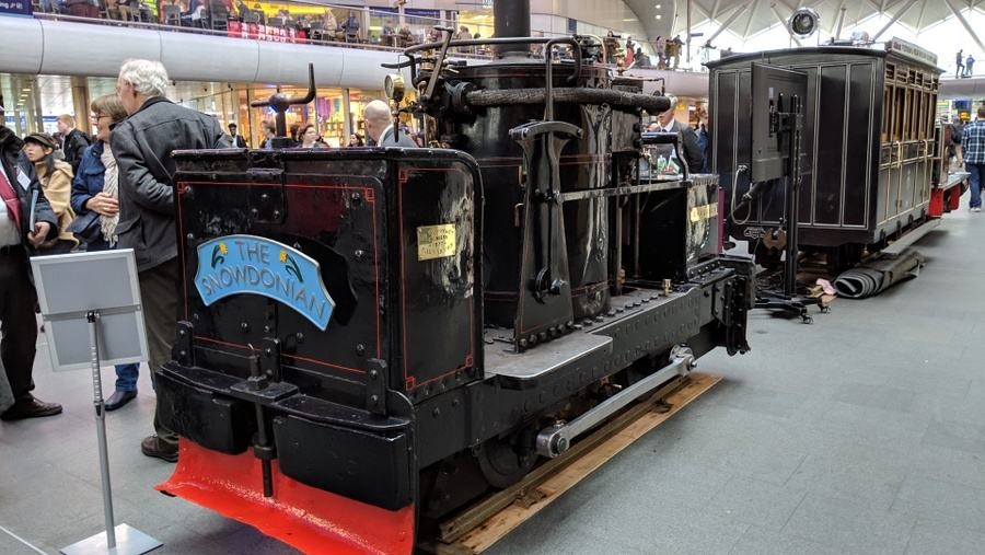 A black loco with an unusual up-ended boiler