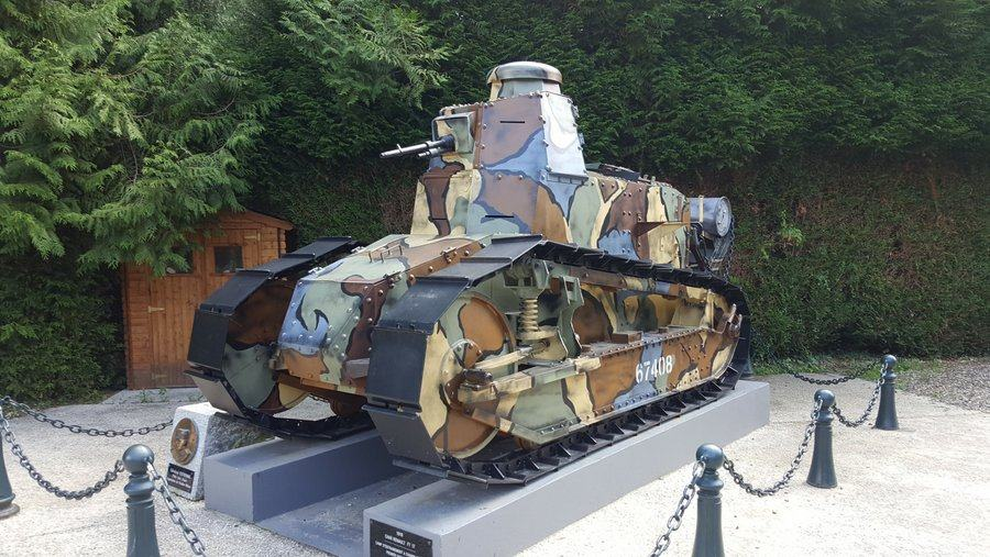 Small french FT-17 tank in camouflage