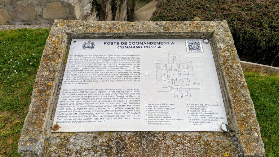Sign outside the Command bunker with information on it.