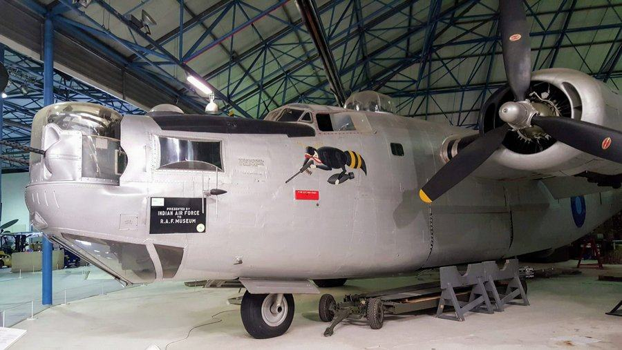 Silver four-engined bomber
