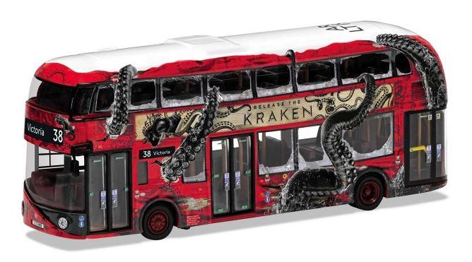 Toy London Bus with a graphic movie poster theme painted on it