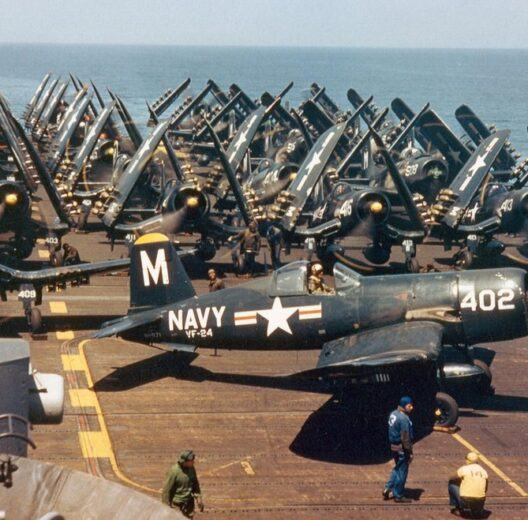 F4U Corsairs aboard USS Princeton