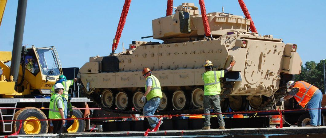 M3 Bradley Armoured Personnel Carrier being lowered into position
