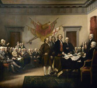 Oil painting of the scene at the second Continental Congress 1776