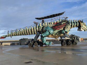 The Calais Dragon on the promenade empty of people on a winter day
